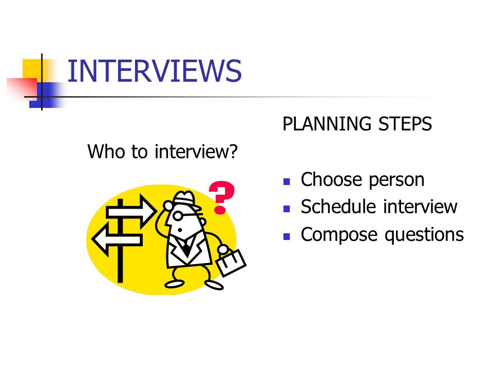 Who to interview PLANNING STEPS Choose person Schedule interview Compose questions