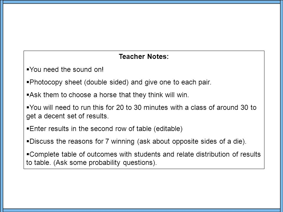 Notes Teacher Notes:  You need the sound on.
