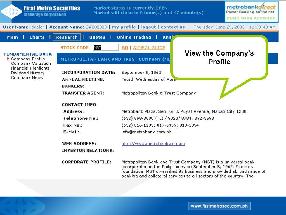 View the Company's Profile