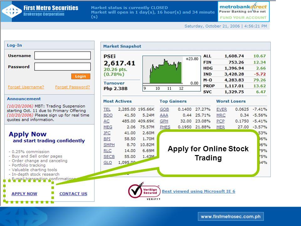 Apply for Online Stock Trading