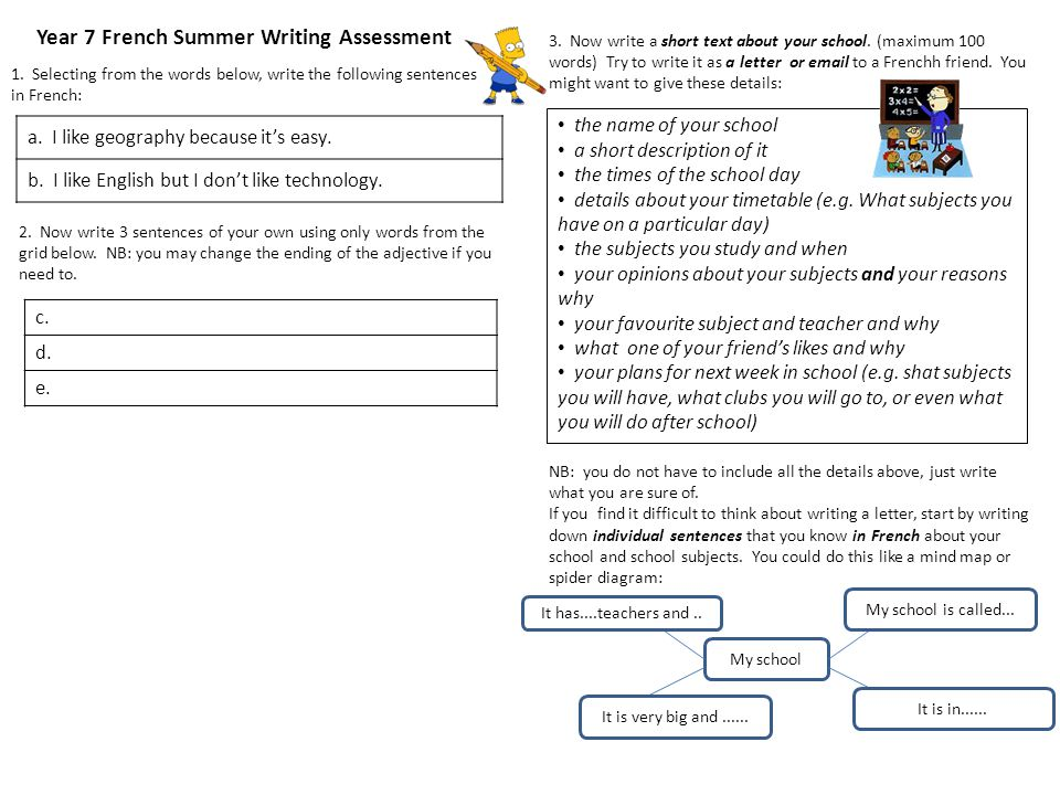 Year 7 French Summer Writing Assessment 1.