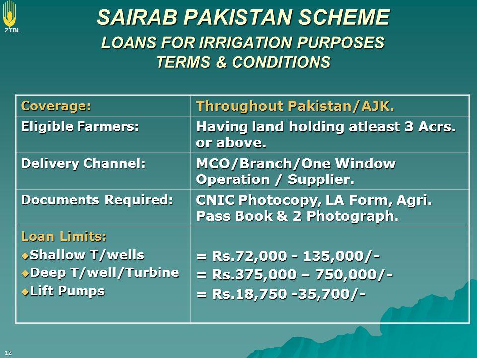 ZTBL 12 SAIRAB PAKISTAN SCHEME LOANS FOR IRRIGATION PURPOSES TERMS & CONDITIONS Coverage: Throughout Pakistan/AJK. Eligible Farmers: Having land holdi