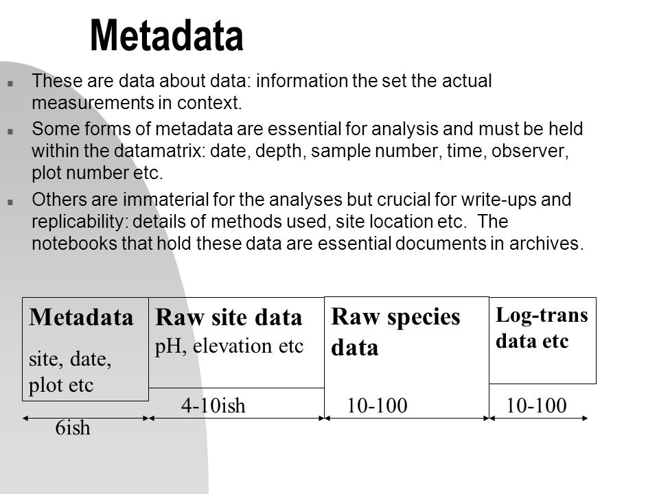 Metadata n These are data about data: information the set the actual measurements in context.