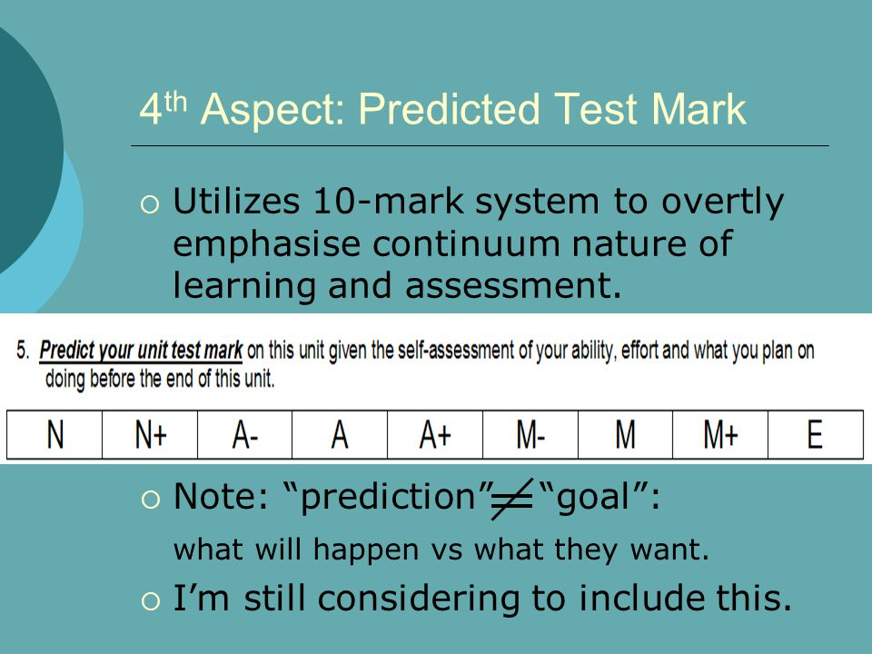 4 th Aspect: Predicted Test Mark  Utilizes 10-mark system to overtly emphasise continuum nature of learning and assessment.