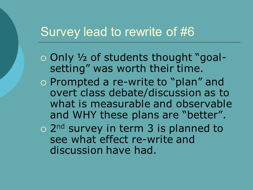 Survey lead to rewrite of #6  Only ½ of students thought goal- setting was worth their time.