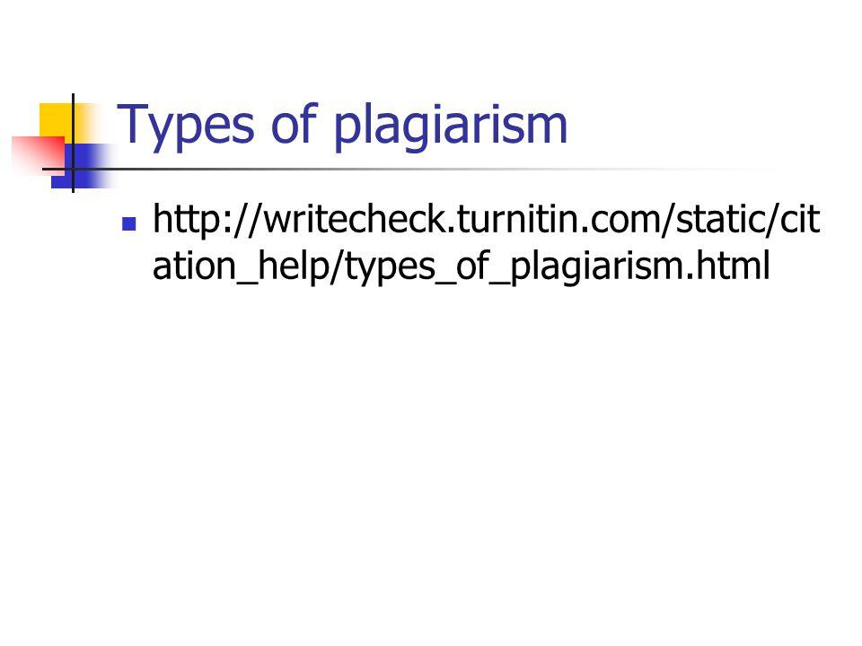 Types of plagiarism http://writecheck.turnitin.com/static/cit ation_help/types_of_plagiarism.html