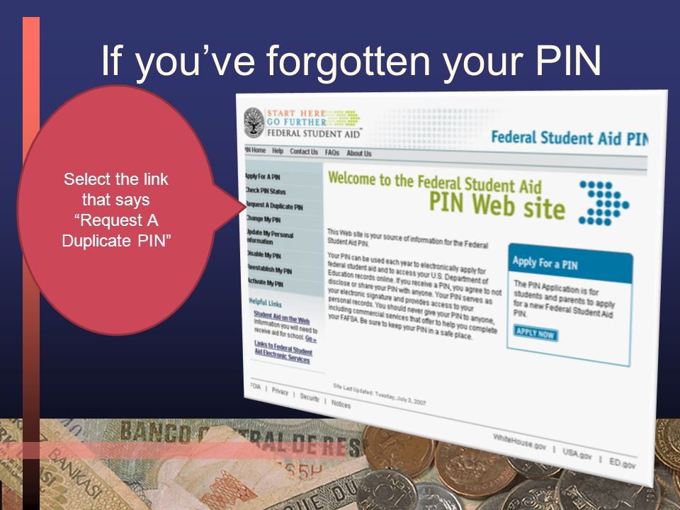 PIN Information Checklist o Social Security Number o Last Name o First Name o Date of Birth o Street Address o E-mail Address (Optional) o Security Question