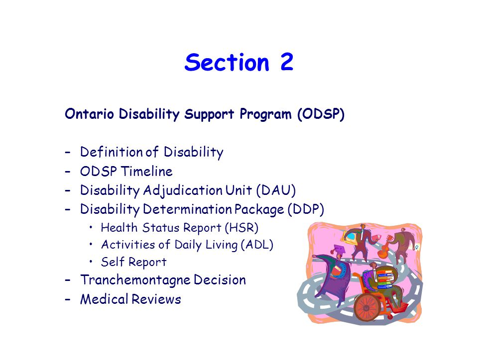 Section 2 Ontario Disability Support Program (ODSP) –Definition of Disability –ODSP Timeline –Disability Adjudication Unit (DAU) –Disability Determination Package (DDP) Health Status Report (HSR) Activities of Daily Living (ADL) Self Report –Tranchemontagne Decision –Medical Reviews