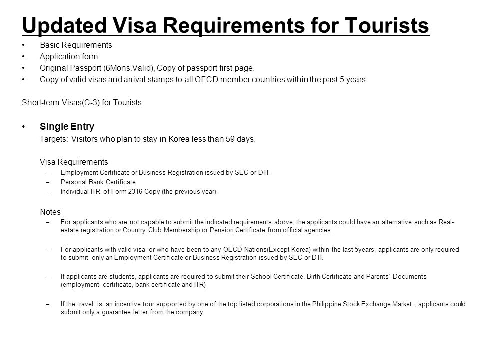 Updated Visa Requirements for Tourists Basic Requirements Application form Original Passport (6Mons.Valid), Copy of passport first page. Copy of valid