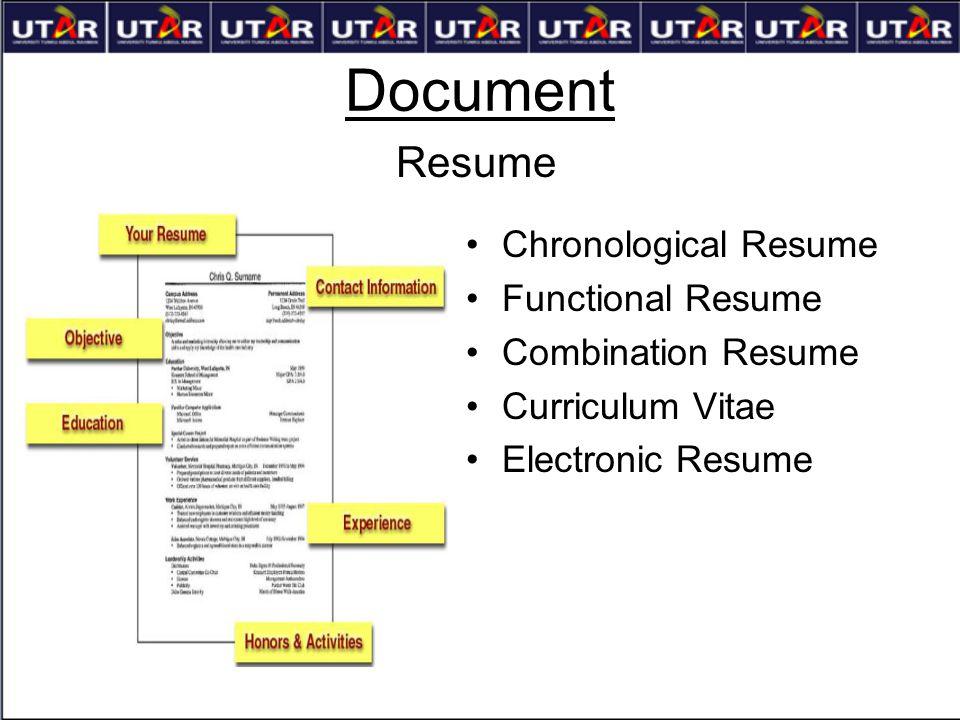 Document Chronological Resume Functional Resume Combination Resume Curriculum Vitae Electronic Resume Resume