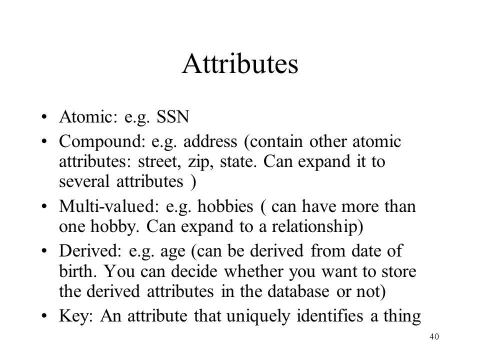 40 Attributes Atomic: e.g.SSN Compound: e.g.