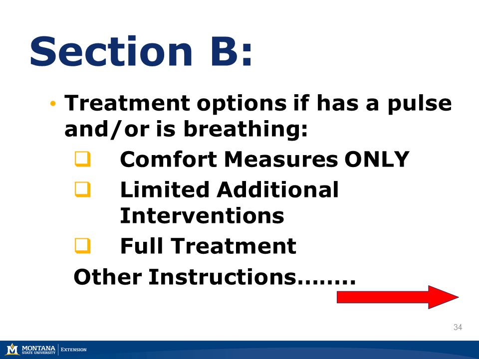 34 Section B: Treatment options if has a pulse and/or is breathing:  Comfort Measures ONLY  Limited Additional Interventions  Full Treatment Other Instructions……..
