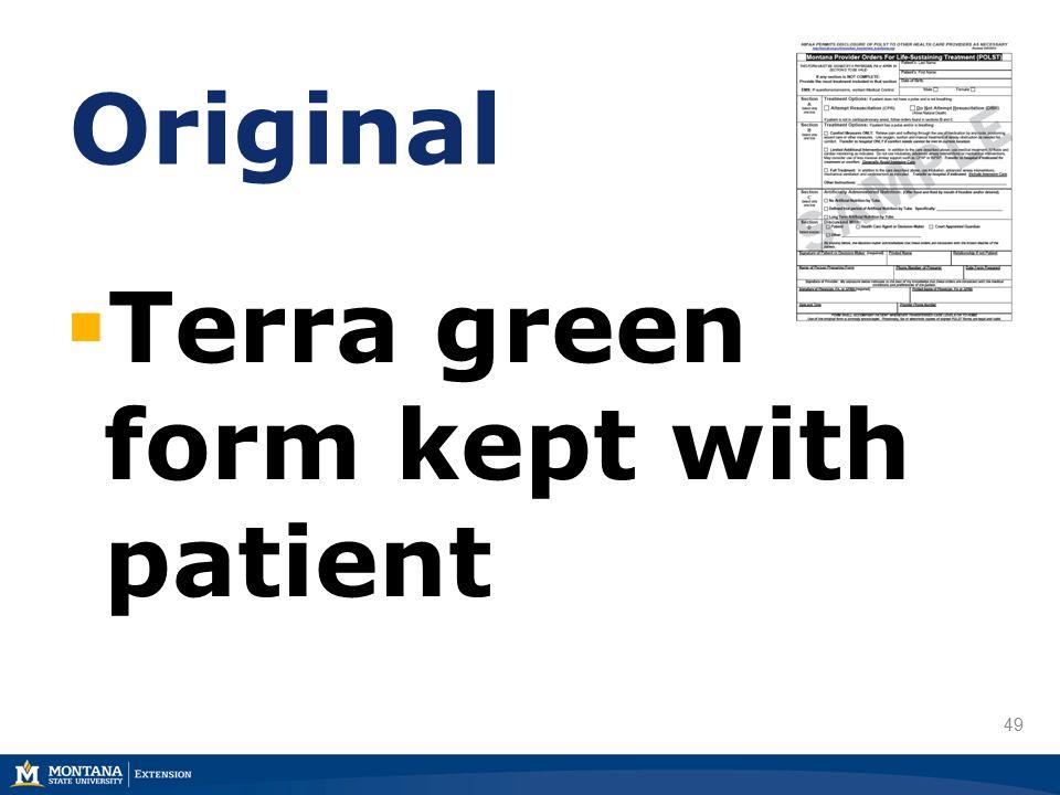 49 Original  Terra green form kept with patient