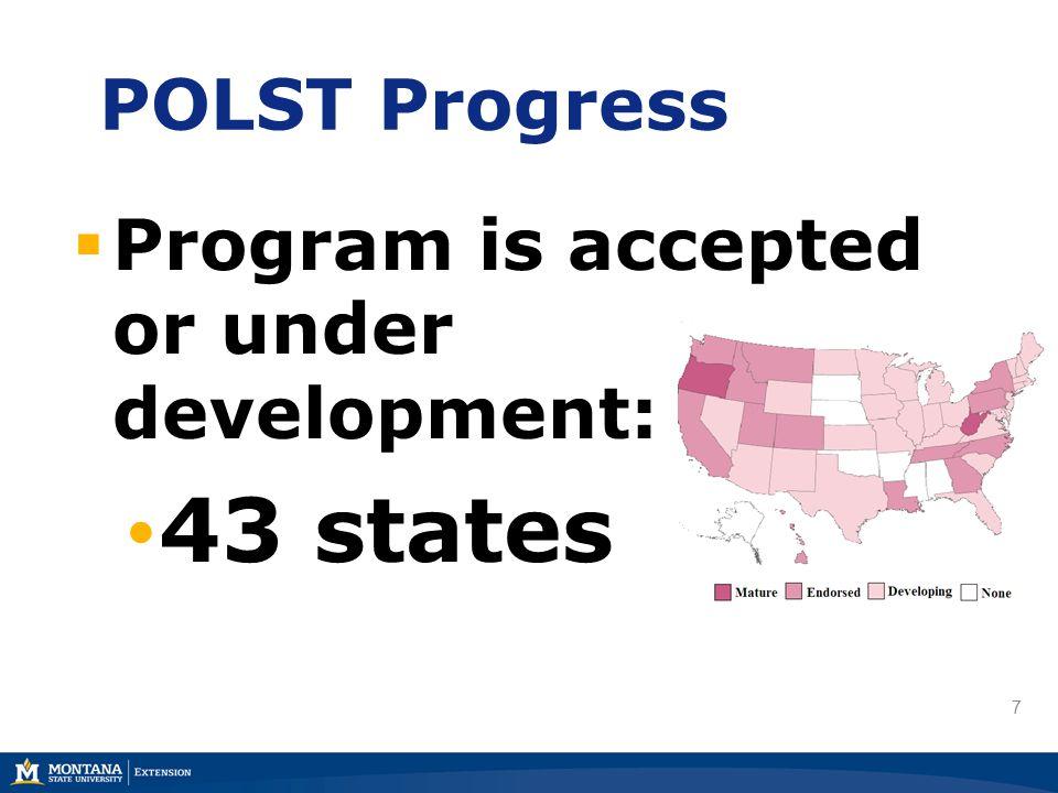 7 POLST Progress  Program is accepted or under development: 43 states