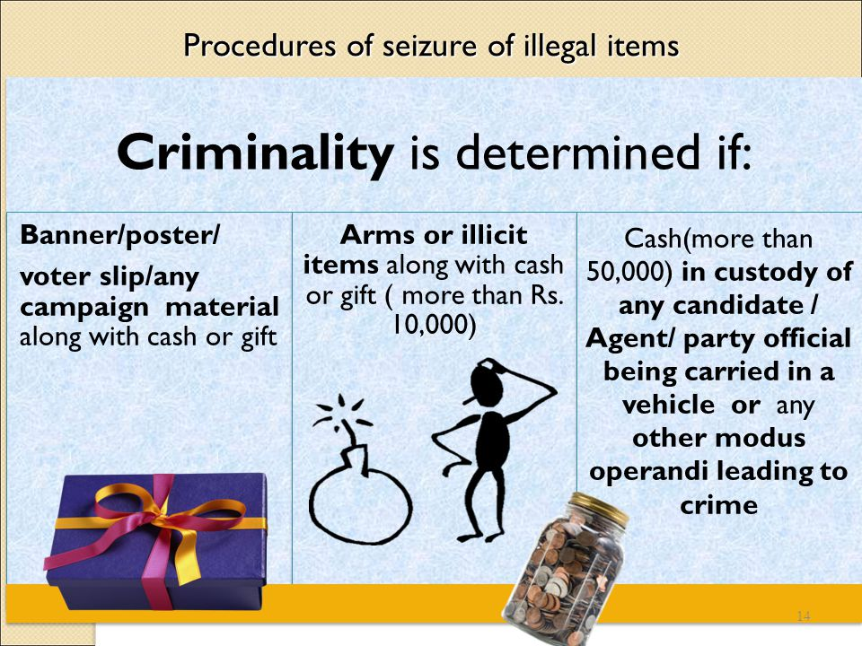 Procedures of seizure of illegal items Criminality is determined if: Banner/poster/ voter slip/any campaign material along with cash or gift Arms or illicit items along with cash or gift ( more than Rs.