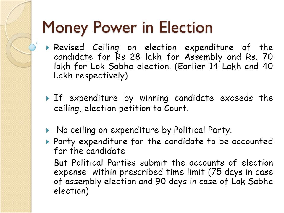 Separate Bank Account Candidates to open separate bank account for election expenses, with any bank or Post office one day before nomination.