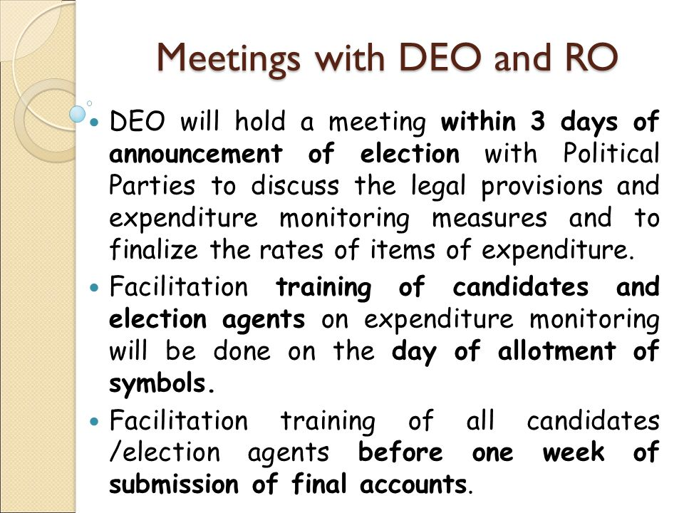 Other Instructions If candidate attends a community kitchen, during election campaign, (other than those organised by religious communities and normal ceremonies like marriage etc,) the entire expenditure will be added as his election expenditure If the vehicle permitted to any candidate is found carrying campaign material of another candidate or being used for campaign for any other candidate, the entire expenditure on the vehicle from the date of permission will be added to the candidate and permission will be withdrawn