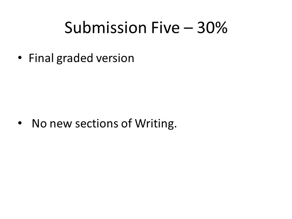 Submission Five – 30% Final graded version No new sections of Writing.