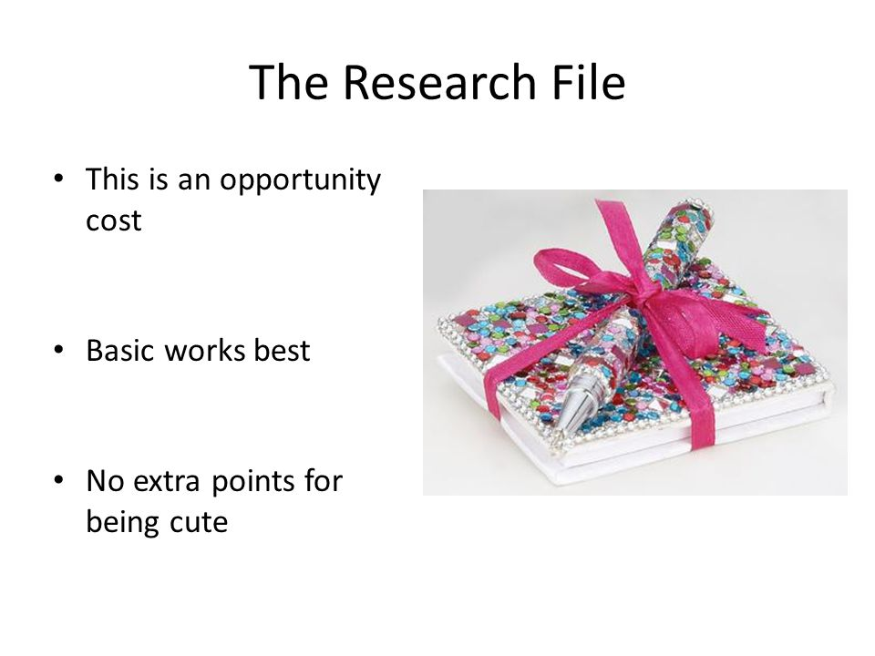 The Research File This is an opportunity cost Basic works best No extra points for being cute