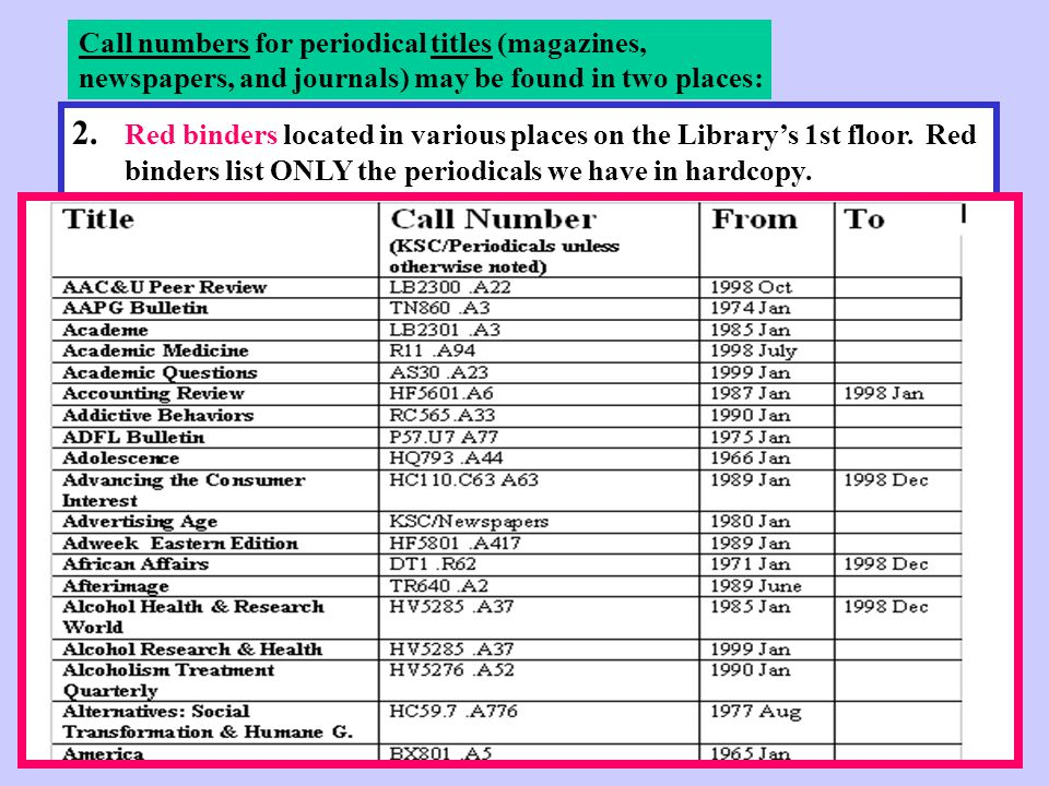 2. Red binders located in various places on the Library's 1st floor.