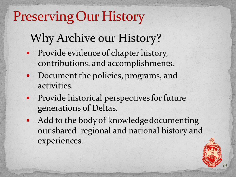 Provide evidence of chapter history, contributions, and accomplishments.