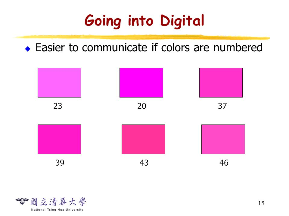 15 Going into Digital  Easier to communicate if colors are numbered 232037 39 4346