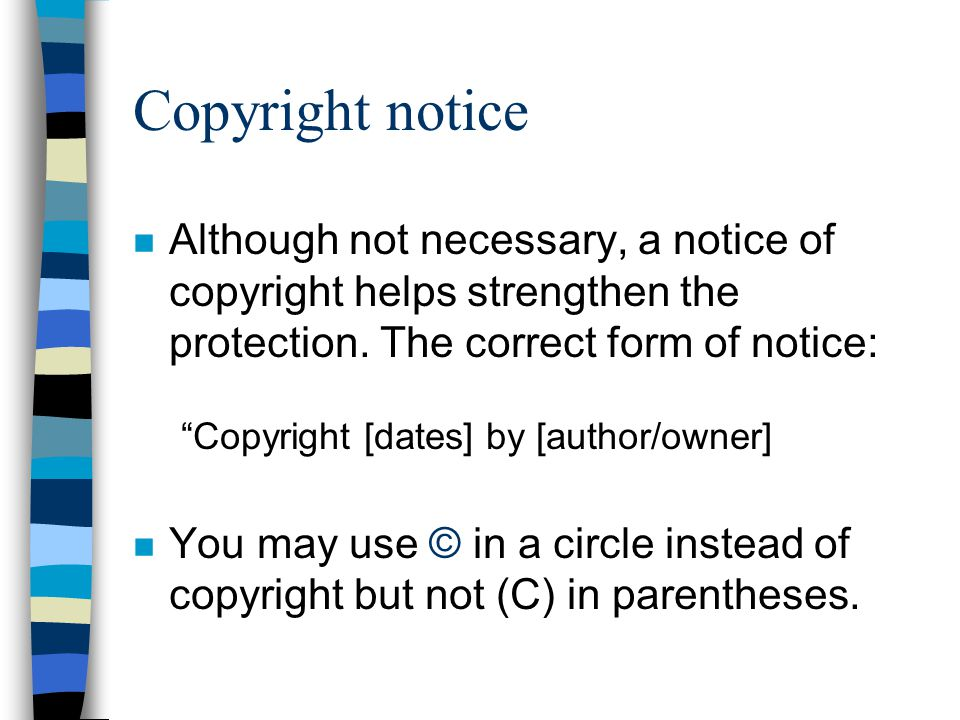 Fair Use n Four factors are to be considered in determining whether or not a particular use of a copyrighted work is fair: 1.Purpose and character of the use (nonprofit educational use vs.