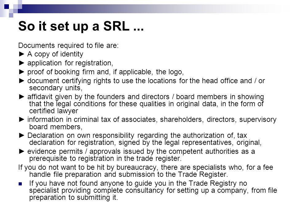 So it set up a SRL...