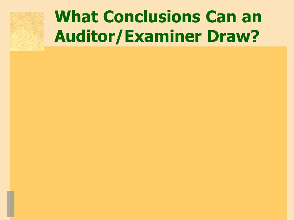 What Conclusions Can an Auditor/Examiner Draw?