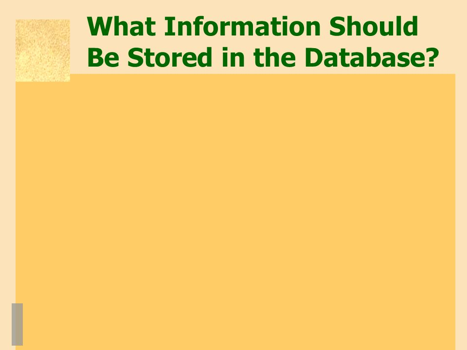 What Information Should Be Stored in the Database?