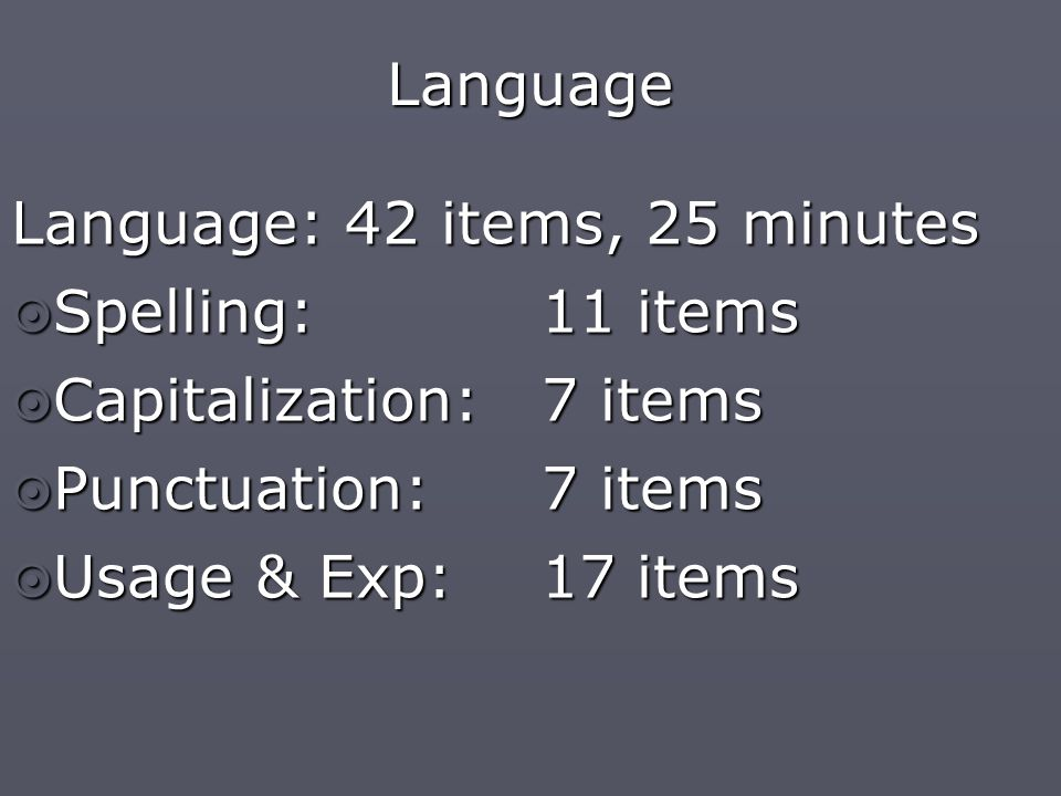Language Language: 42 items, 25 minutes  Spelling: 11 items  Capitalization: 7 items  Punctuation: 7 items  Usage & Exp: 17 items
