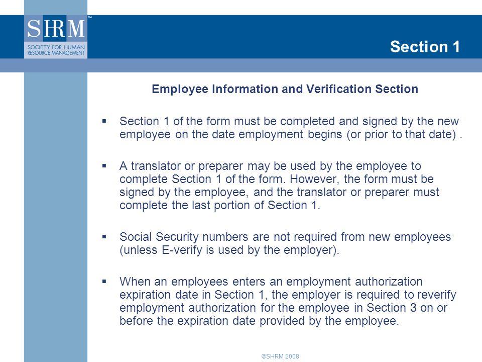 ©SHRM 2008 Section 3 Reverification (continued)  U.S.