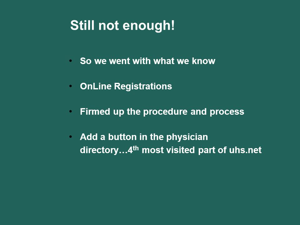 Still not enough! So we went with what we know OnLine Registrations Firmed up the procedure and process Add a button in the physician directory…4 th m