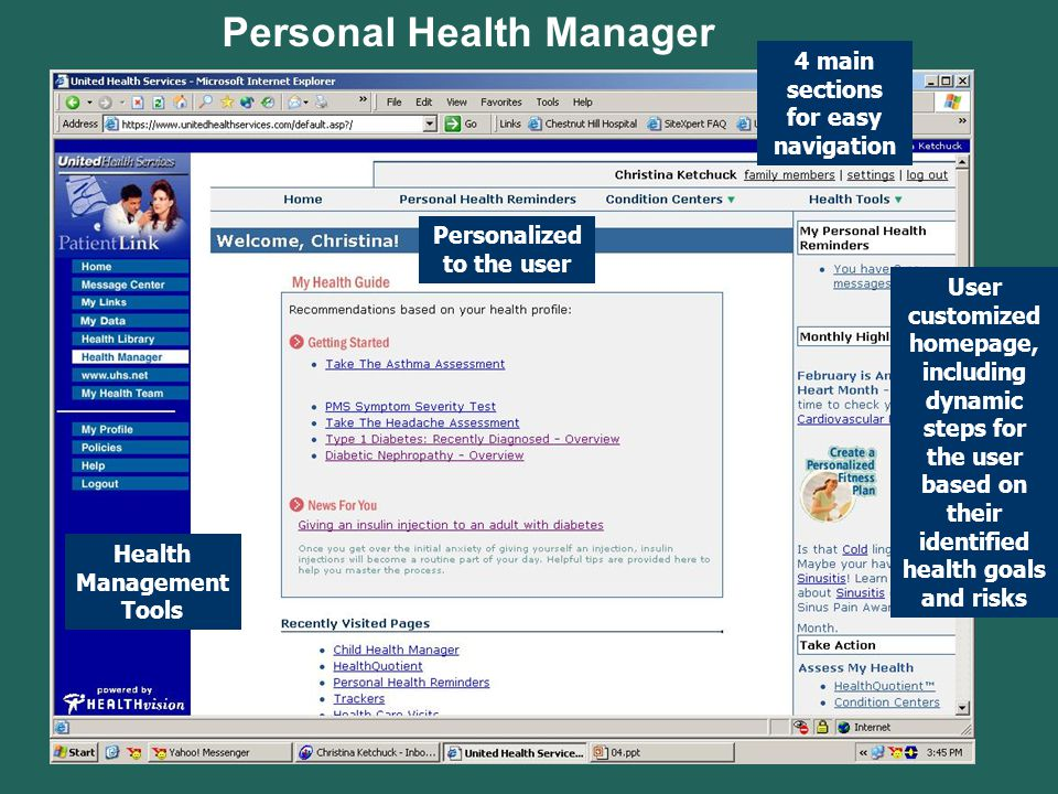 Personal Health Manager User customized homepage, including dynamic steps for the user based on their identified health goals and risks 4 main section