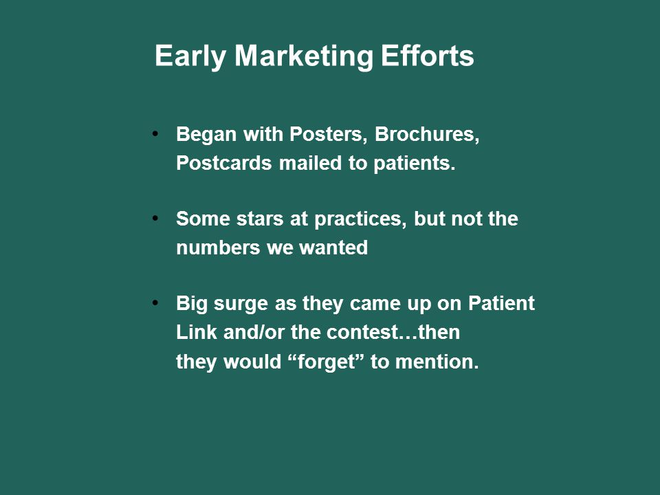 Early Marketing Efforts Began with Posters, Brochures, Postcards mailed to patients. Some stars at practices, but not the numbers we wanted Big surge