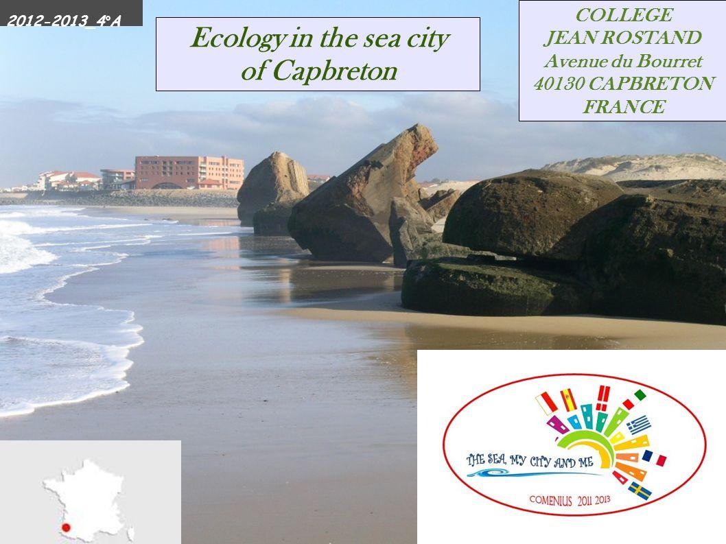 Cerise & Luca COLLEGE JEAN ROSTAND Avenue du Bourret 40130 CAPBRETON FRANCE Ecology in the sea city of Capbreton 2012-2013_4°A