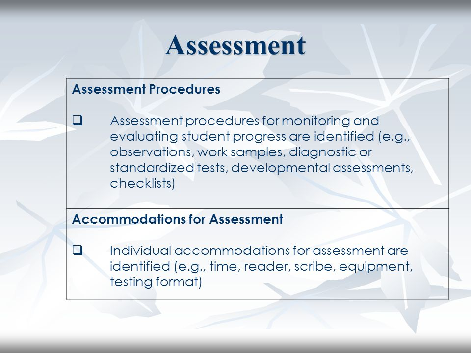 Assessment Assessment Procedures  Assessment procedures for monitoring and evaluating student progress are identified (e.g., observations, work sampl