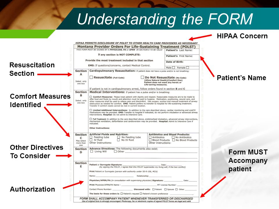 Understanding the FORM Resuscitation Section Comfort Measures Identified Authorization Patient's Name HIPAA Concern Form MUST Accompany patient Other