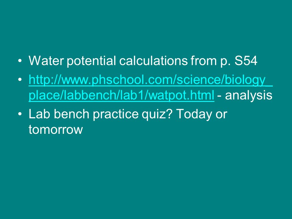 Water potential calculations from p. S54 http://www.phschool.com/science/biology_ place/labbench/lab1/watpot.html - analysishttp://www.phschool.com/sc