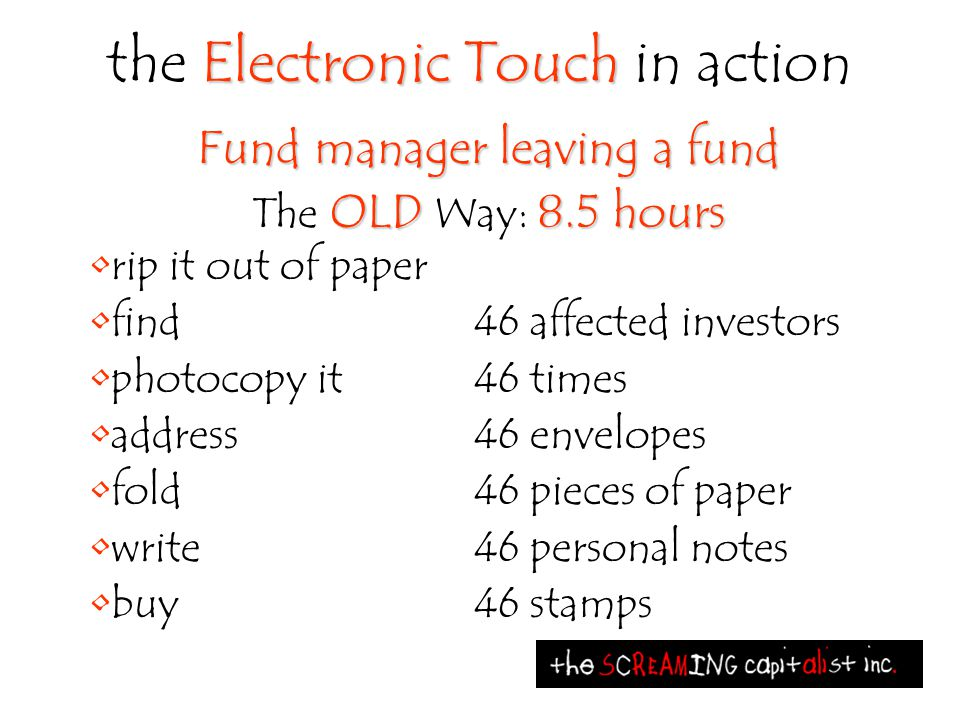 Electronic Touch the Electronic Touch in action Fund manager leaving a fund OLD 8.5 hours The OLD Way: 8.5 hours rip it out of paper find46 affected i