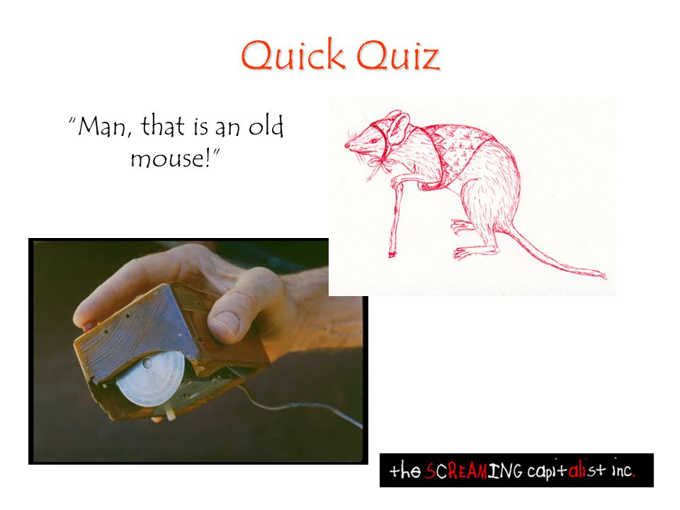 Quick Quiz Man, that is an old mouse!