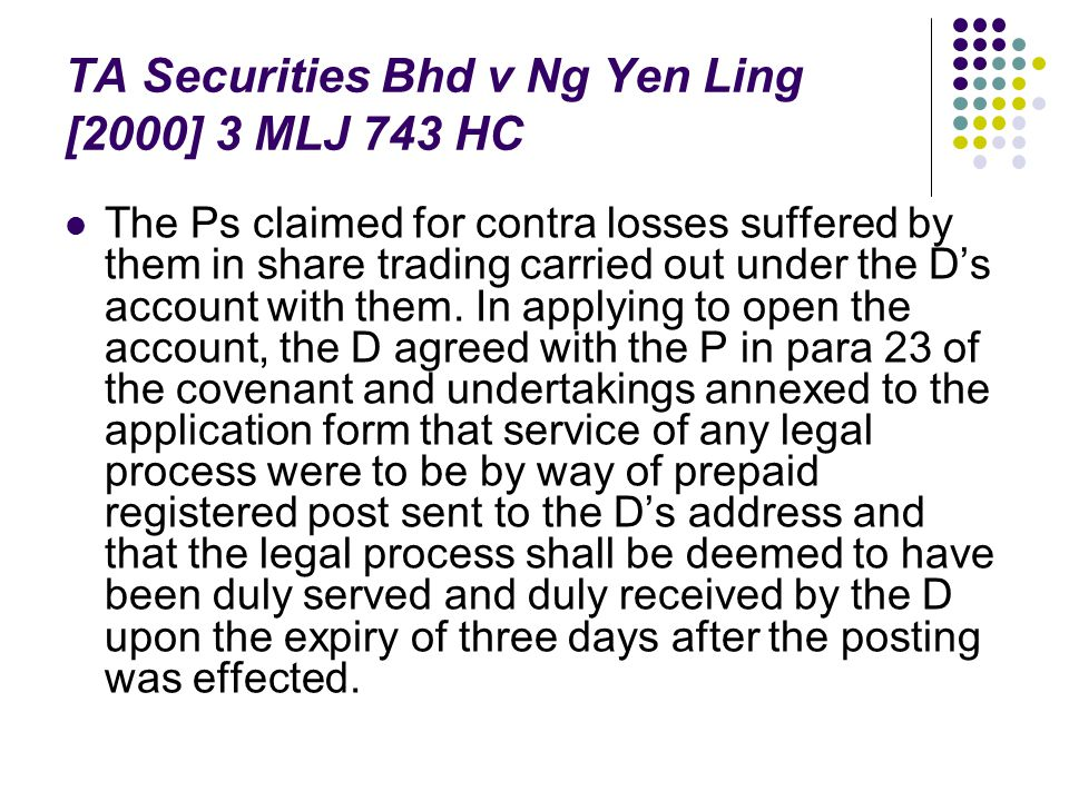 TA Securities Bhd v Ng Yen Ling [2000] 3 MLJ 743 HC The Ps claimed for contra losses suffered by them in share trading carried out under the D's accou