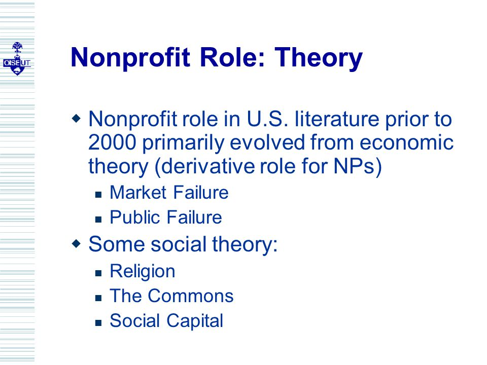 Nonprofit Role: Theory  Nonprofit role in U.S.