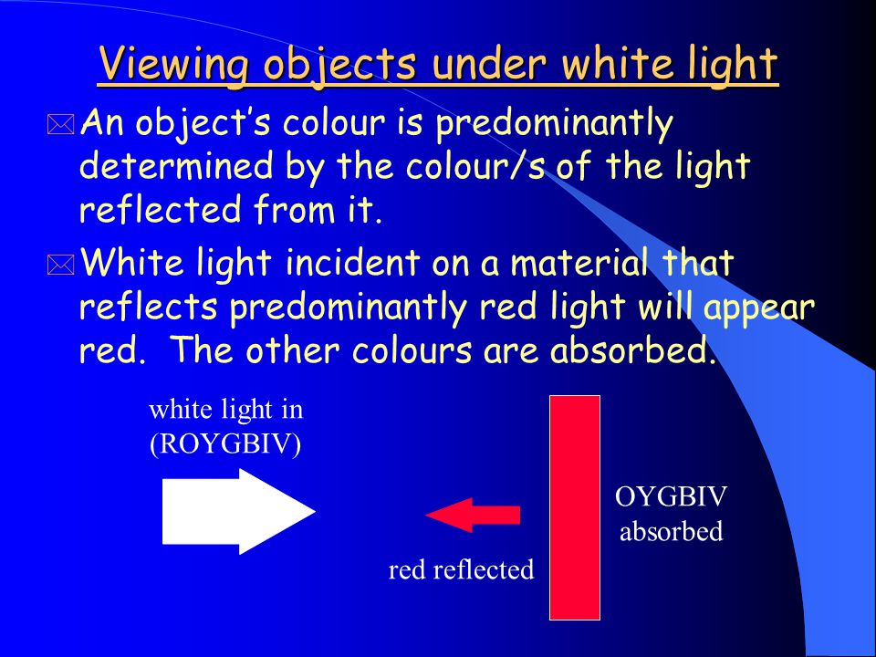 """Seeing coloured objects * """"White"""" light contains roughly equal amounts of each of the colours of the visible spectrum. * Sunlight, incandescent light"""