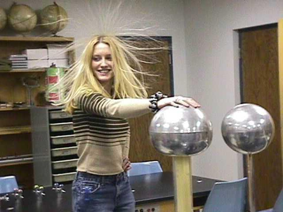 12 Static hair When you are charged by a van de Graaff machine each part of your body repels every other part. The strands of your hair repel each oth