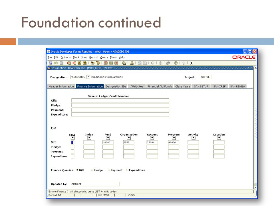 Foundation continued