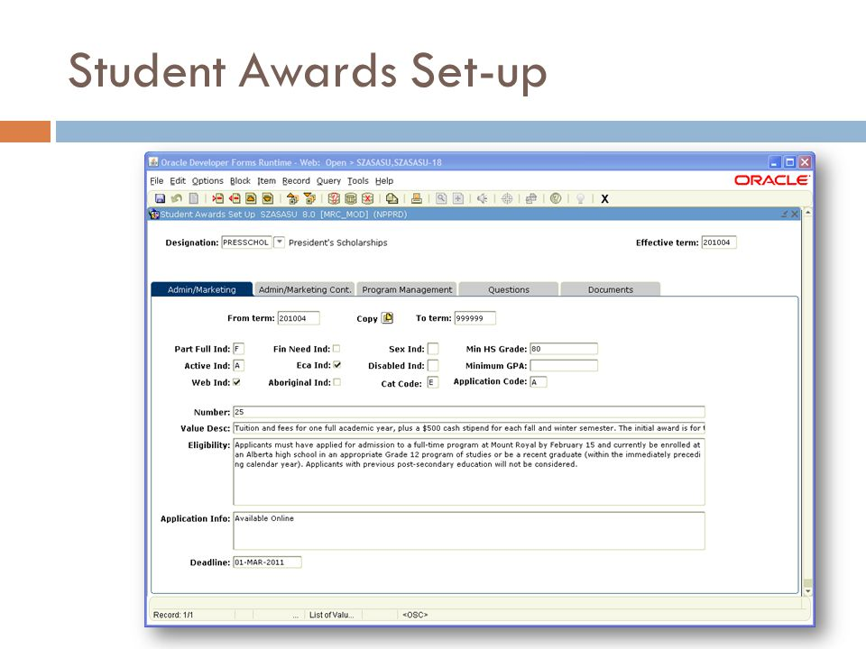 Student Awards Set-up