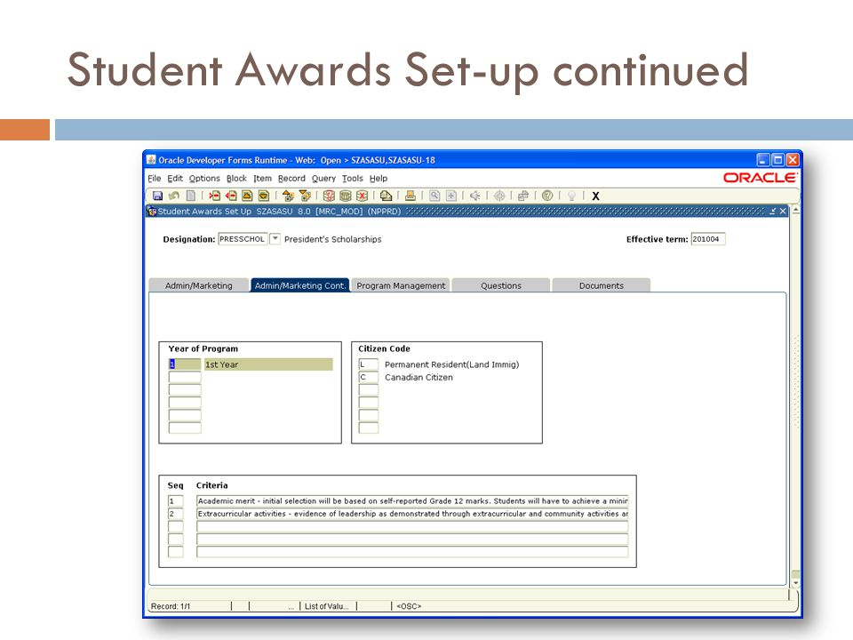 Student Awards Set-up continued