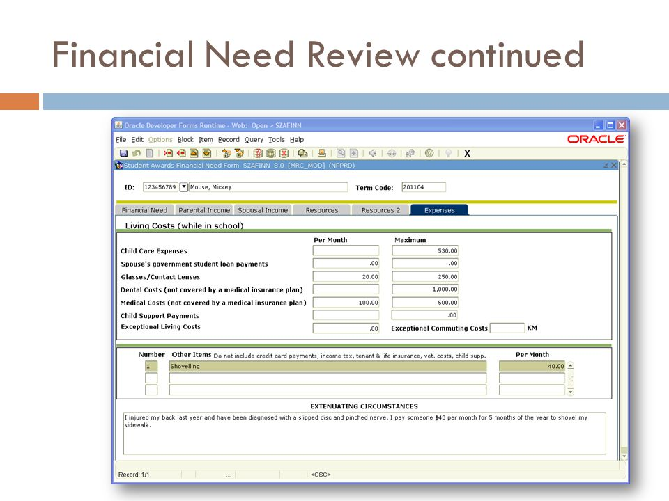 Financial Need Review continued