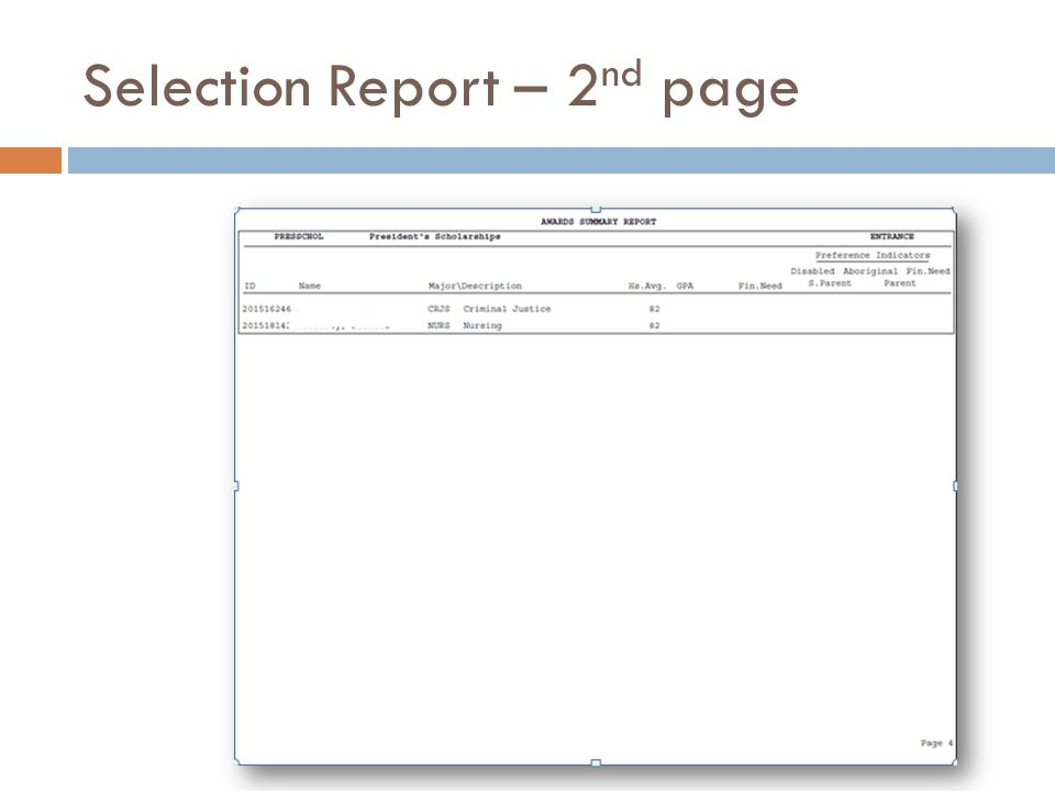 Selection Report – 2 nd page